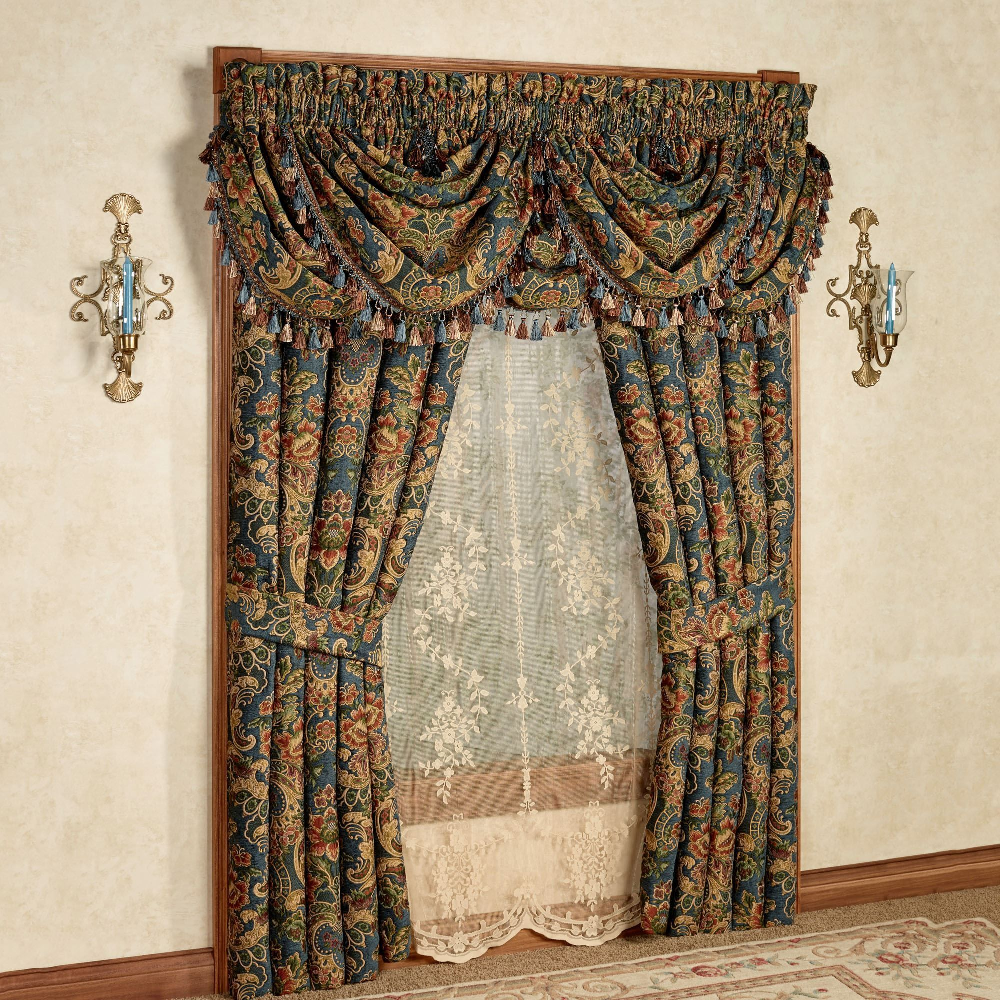 Cassandra jacobean floral window treatment by j queen new for New york style curtains