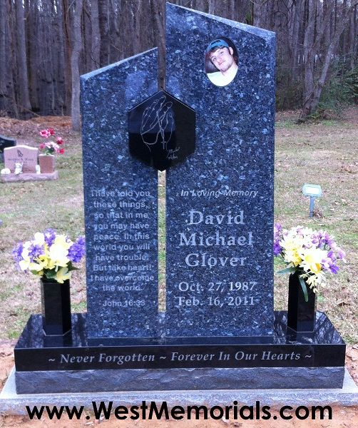 Westmemorials Com Designs And Creates Beautiful Cemetery Headstones This Granite Monument Is Made From Blue Pe Headstones Tombstone Designs Cemetery Monuments
