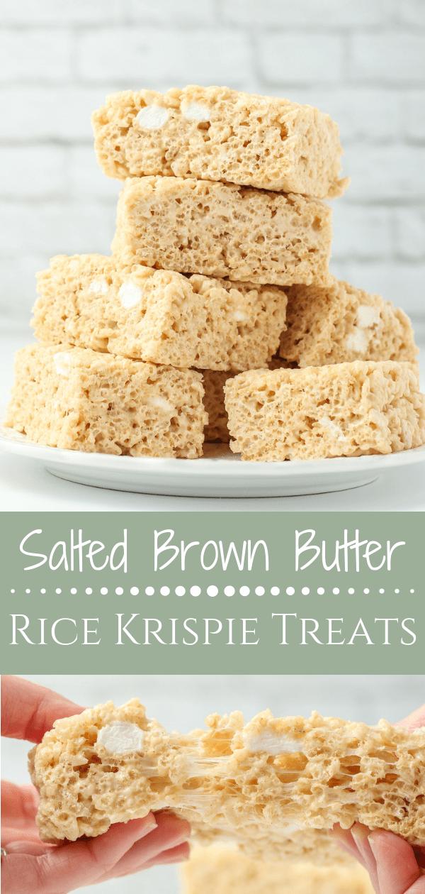 Salted Brown Butter Rice Krispie Treats #ricekrispiestreats