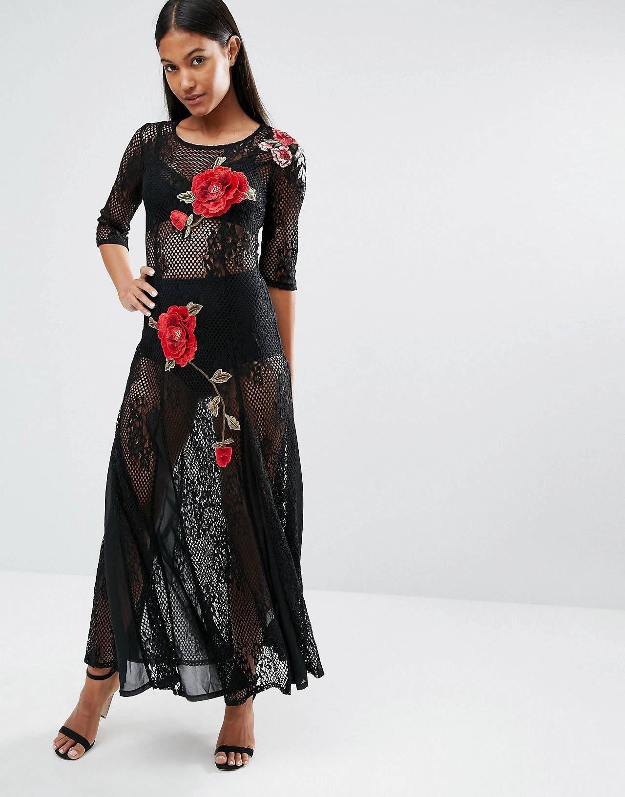 318e6f36c Compra Vestido largo de encaje con bordado floral de Boohoo en ASOS.  Descubre la moda online.