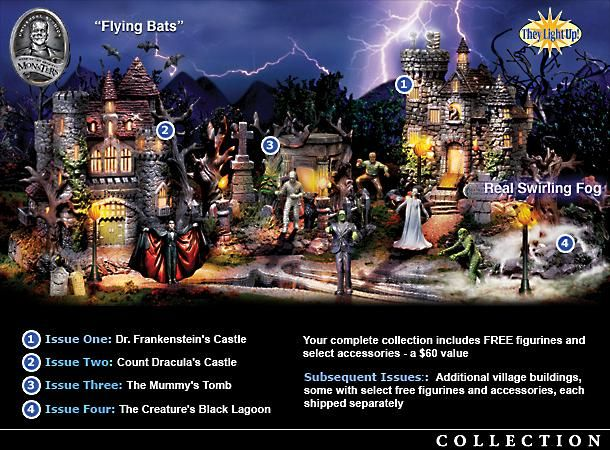universal studios monsters halloween village collection