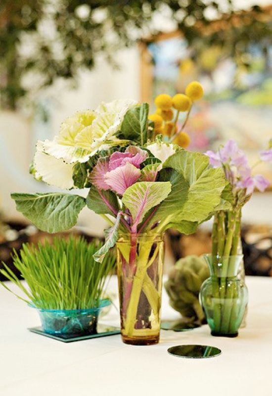 Vegetable Table Decorations Veggies Fruits And Herbs As Wedding