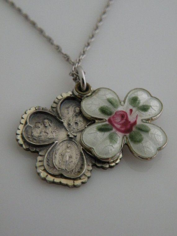 Lizzyoftheflowers. vintage style enamel butterfly, ladybird, flower and leaf chandelier necklace