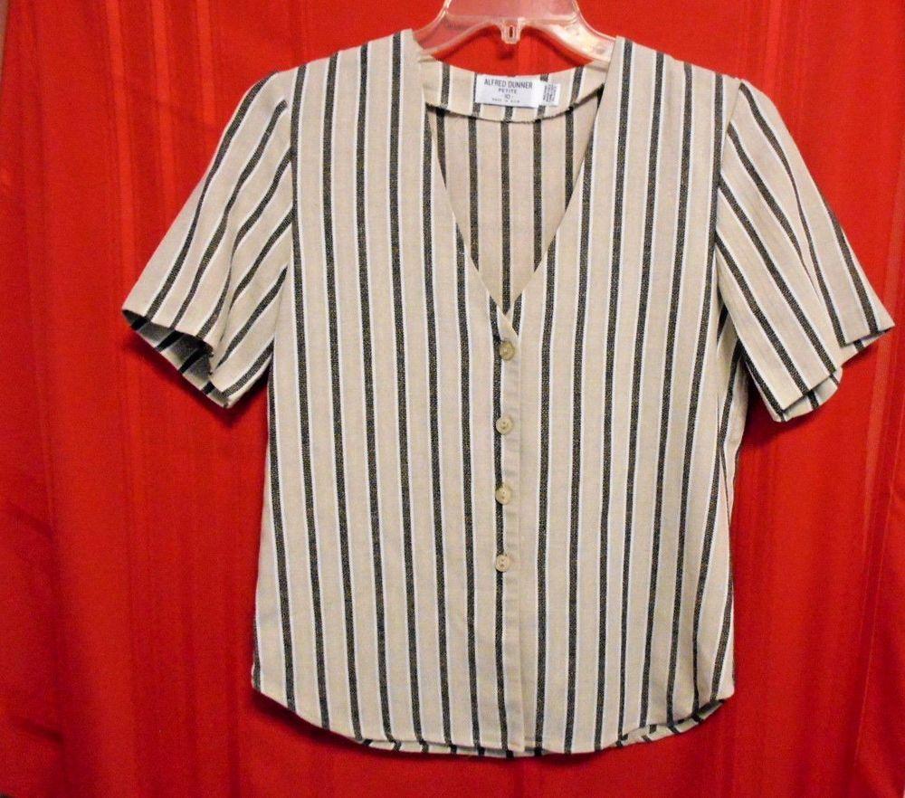 Alfred Dunner Petite Size 10 Top Brown Black Tweed Stripe Deep V Neck #AlfredDunner #ButtonDownShirt #Career