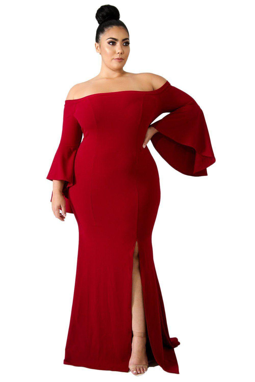 7131b051e84 Womens Off Shoulder Slit Plus Size Mermaid gown evening party Dress,  $29.99, Women Off