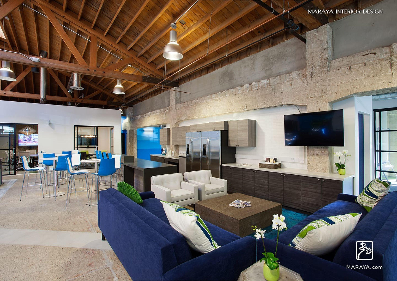 The Trade Desk, Modern Open Office Lounge And Break Area. Blue, Open  Trusses. Maraya Interior Design