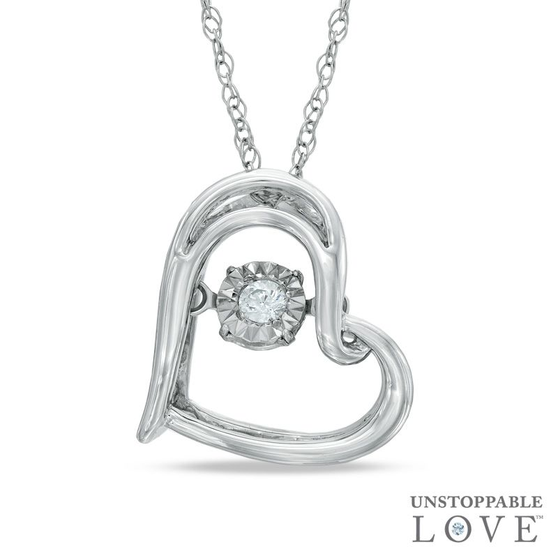 Zales Enhanced Blue and White Diamond Accent Tilted Double Heart Pendant in Sterling Silver PUOa6VZ
