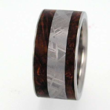 meteorite and burl wood ring.