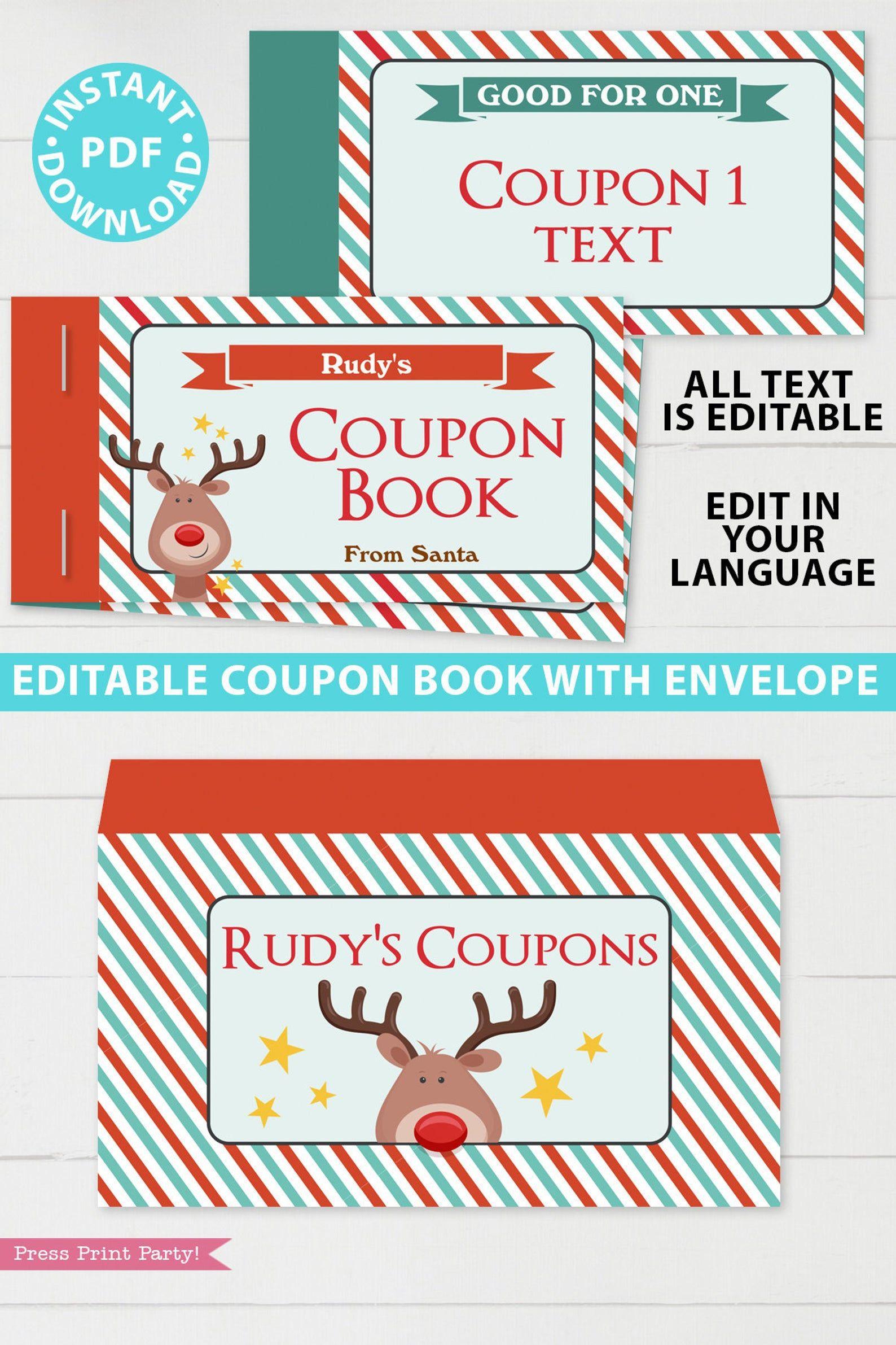 Christmas Coupon Book Printable Template Kids Gift Idea Etsy In 2020 Coupon Book Christmas Coupons Template Printable