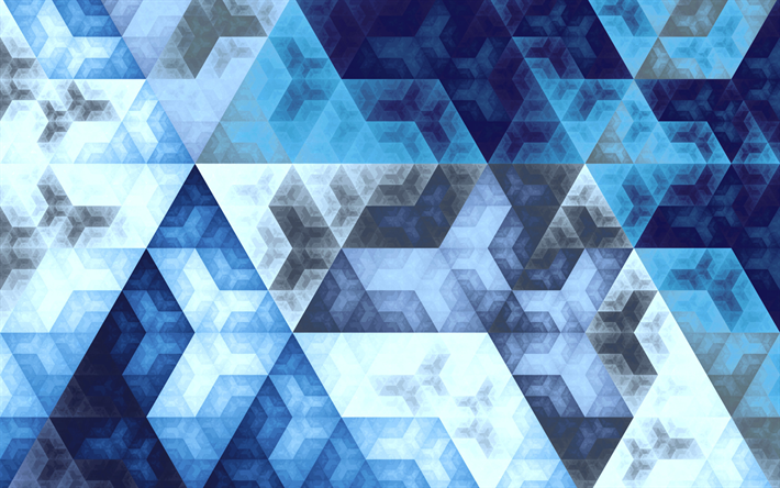 Download Wallpapers 4k Triangles Art Geometry Geometric Shapes Blue Background