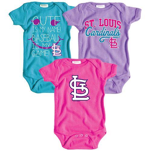 online store 5e950 65e49 St. Louis Cardinals Infant Girls 3 Pack Team Set - MLB.com ...