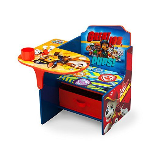 Your Child S Favorite Canines Come To Life On This Nick Jr Paw Patrol Chair Desk With Storage Bin By Delta Children Storage Chair Kids Desk Chair Toddler Desk