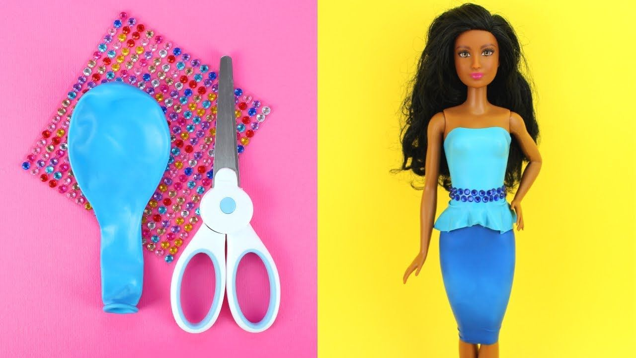 bbe908b0b8d DIY Barbie Dresses with Balloons Part 3 Making Easy No Sew Clothes for  Barbies with Rhinestones - YouTube