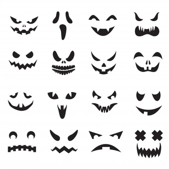 Halloween Jack O Lantern Face Silhouettes Monster Ghost Carving Scary Eyes And Mouth Icons Set Halloween Jack O Lanterns Jack O Lantern Faces Pumpkin Faces