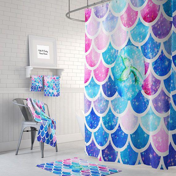 Mystical Mermaid Scales Shower Curtain Optional Bath Bath Towels