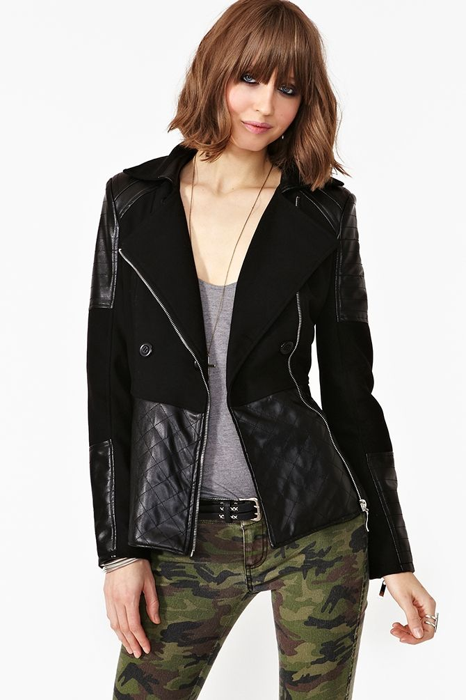 Axis black leather Quilted Coat
