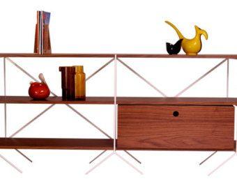 retro midcentury modern modular shelving unit
