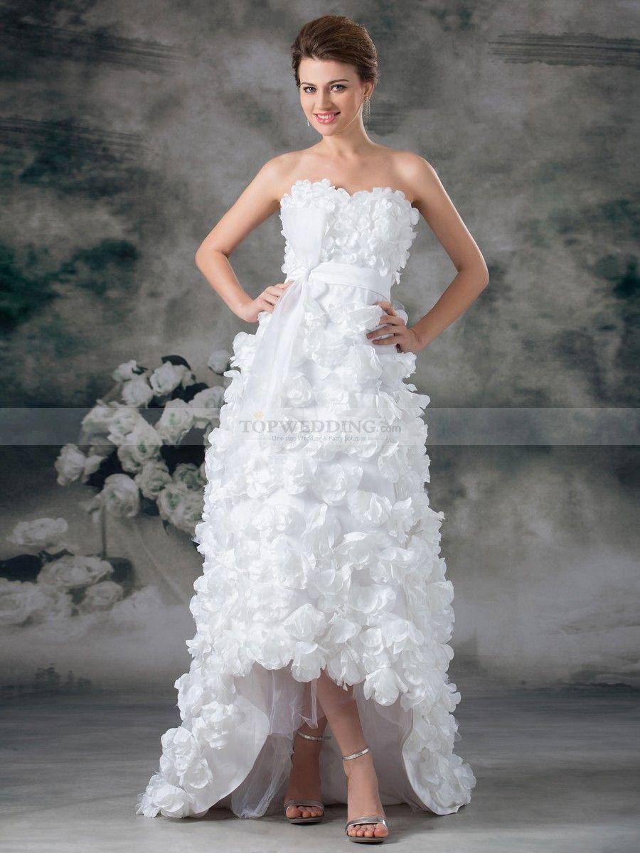 Sweetheart Satin Hi Lo Wedding Dress With Bow Sash And Rosette