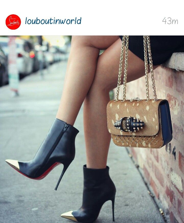 Gold pointed toe Christian Louboutin booties