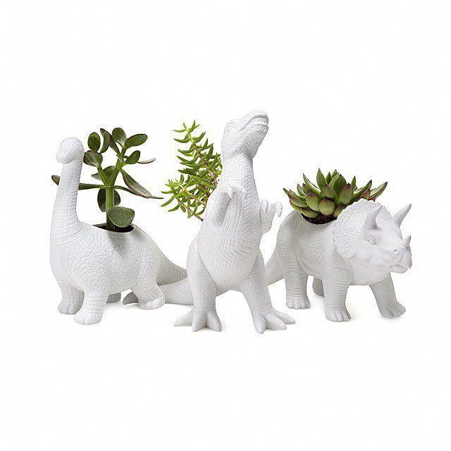 Porcelain Dinosaur Planters | dinosaur gifts, unique planter, succulent planter