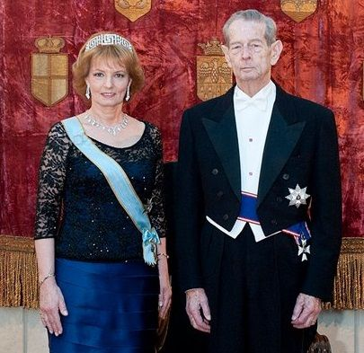 Crown Princess Margarita and King Michael I of Romania attend the Luxembourg wedding gala 19 Oct 2012
