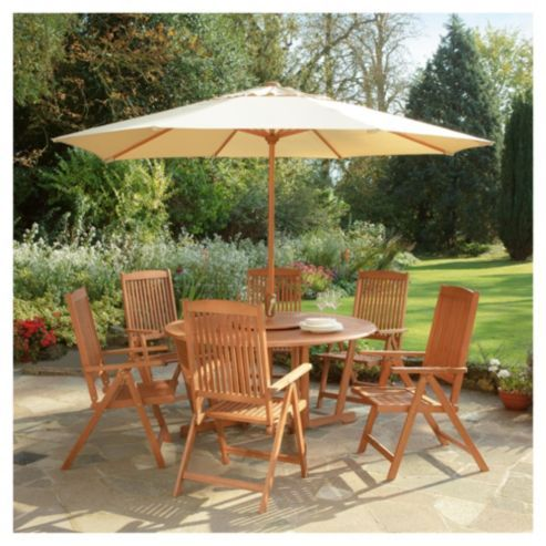 buy salcombe 6 seat garden furniture set with parasol from our all garden furniture range at tesco direct we stock a great range of products at everyday - Garden Furniture The Range