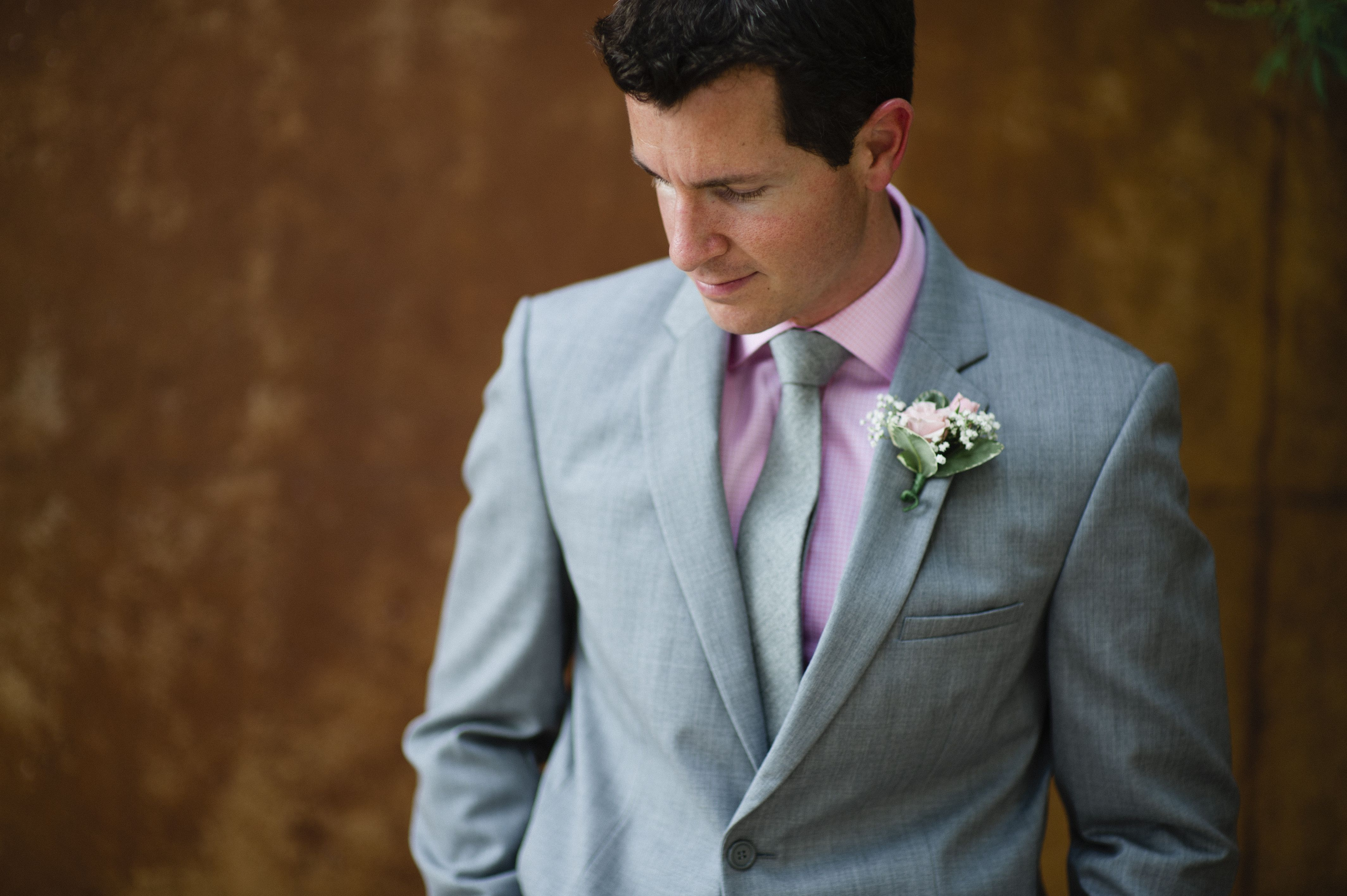 Thomas Pink pink shirt, grey suit, grey skinny tie from J. Crew ...