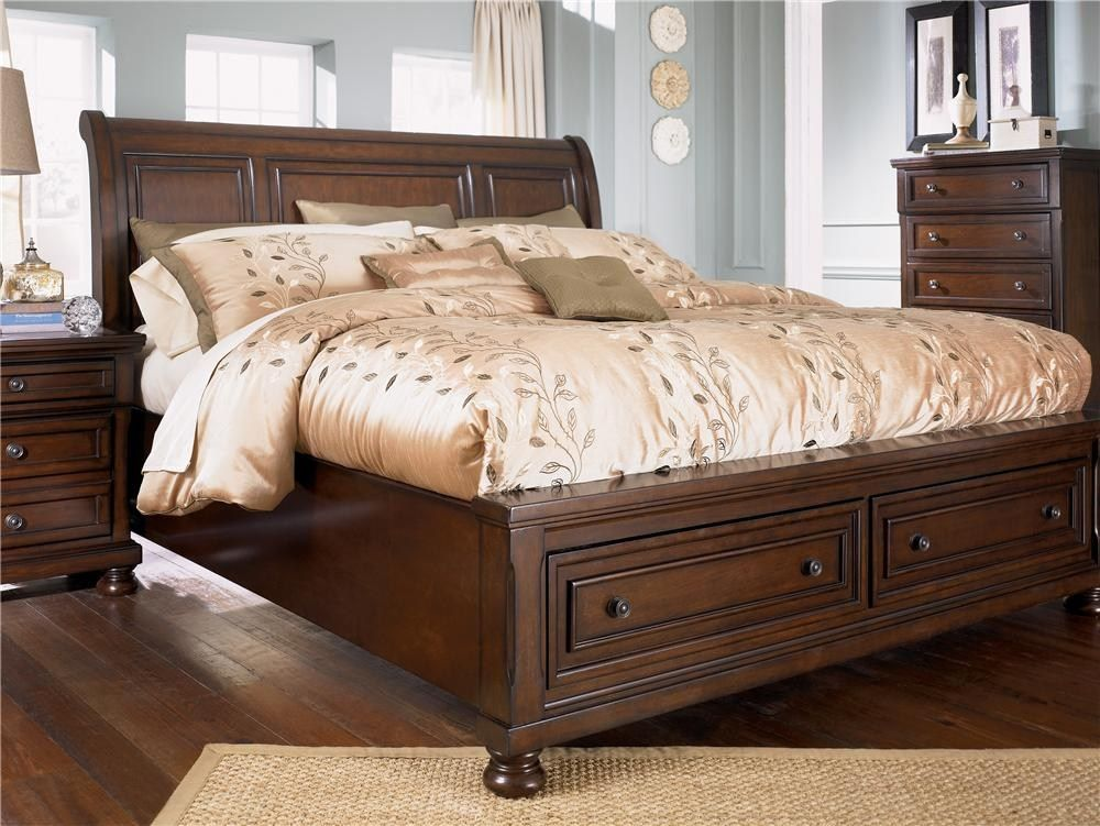 Ashley Furniture Porter King Sleigh Bed with Storage Footboard