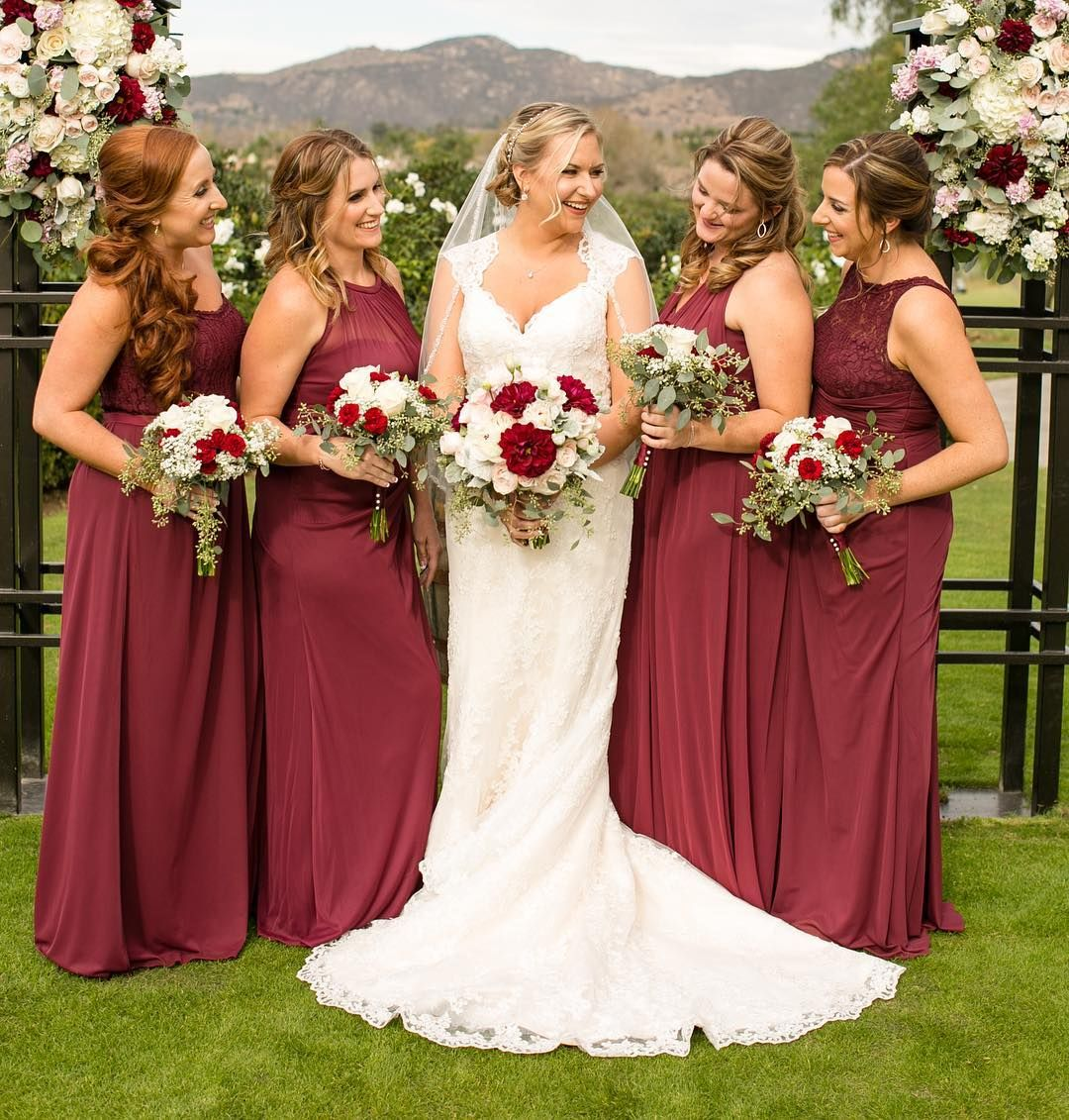 Burgundy Bridesmaid Dresses From David's Bridal With