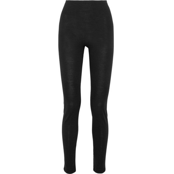Hanro Merino wool and silk-blend jersey leggings (115 CAD) ❤ liked on Polyvore featuring pants, leggings, black, insulated leggings, wide leg summer pants, merino wool pants, summer leggings and merino pants