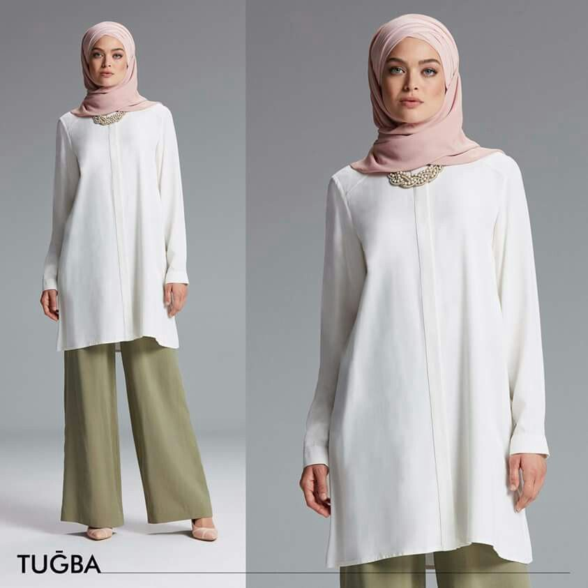 Explore Islamic Fashion, Muslim Fashion, and more! tunique longue blanche pantalon  large vert