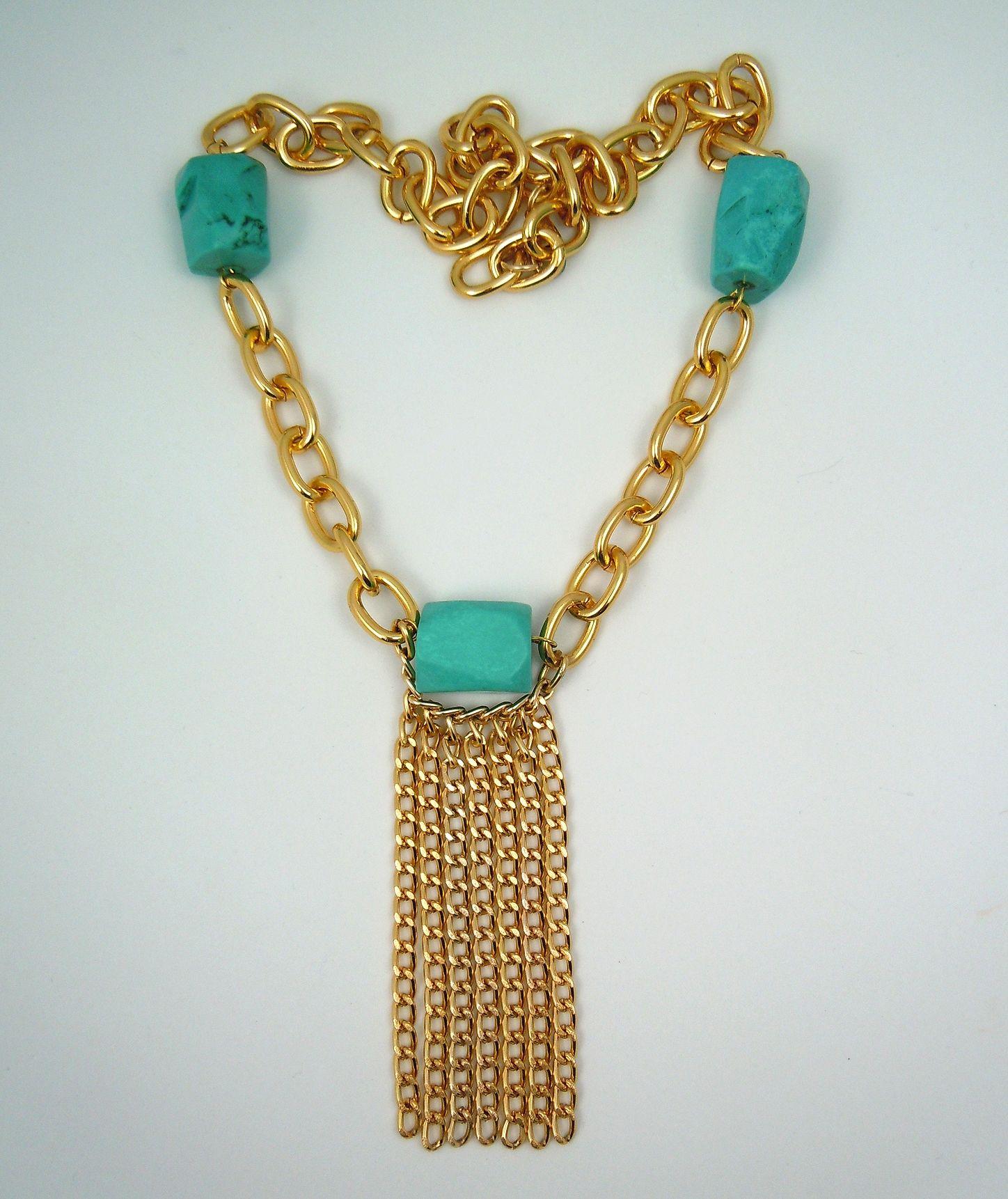 791c738287830 House of Zada Teal Green Magnesite Gemstone Statement Gold Dangle ...