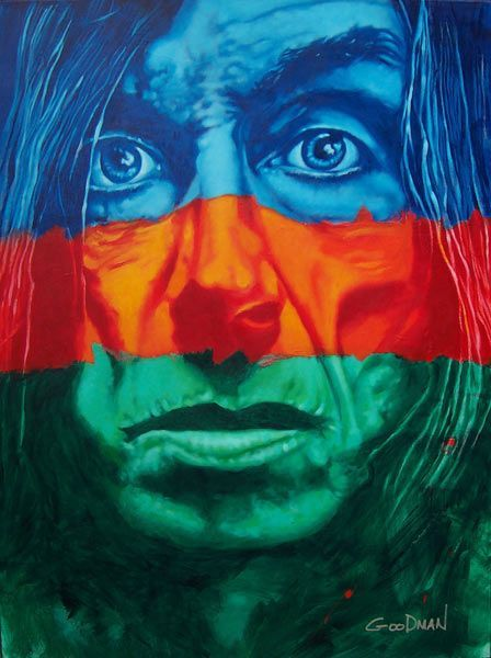 "Orange, blue, and green Iggy Pop painting by Mark Goodman, $1000 - 40"" x 30"""