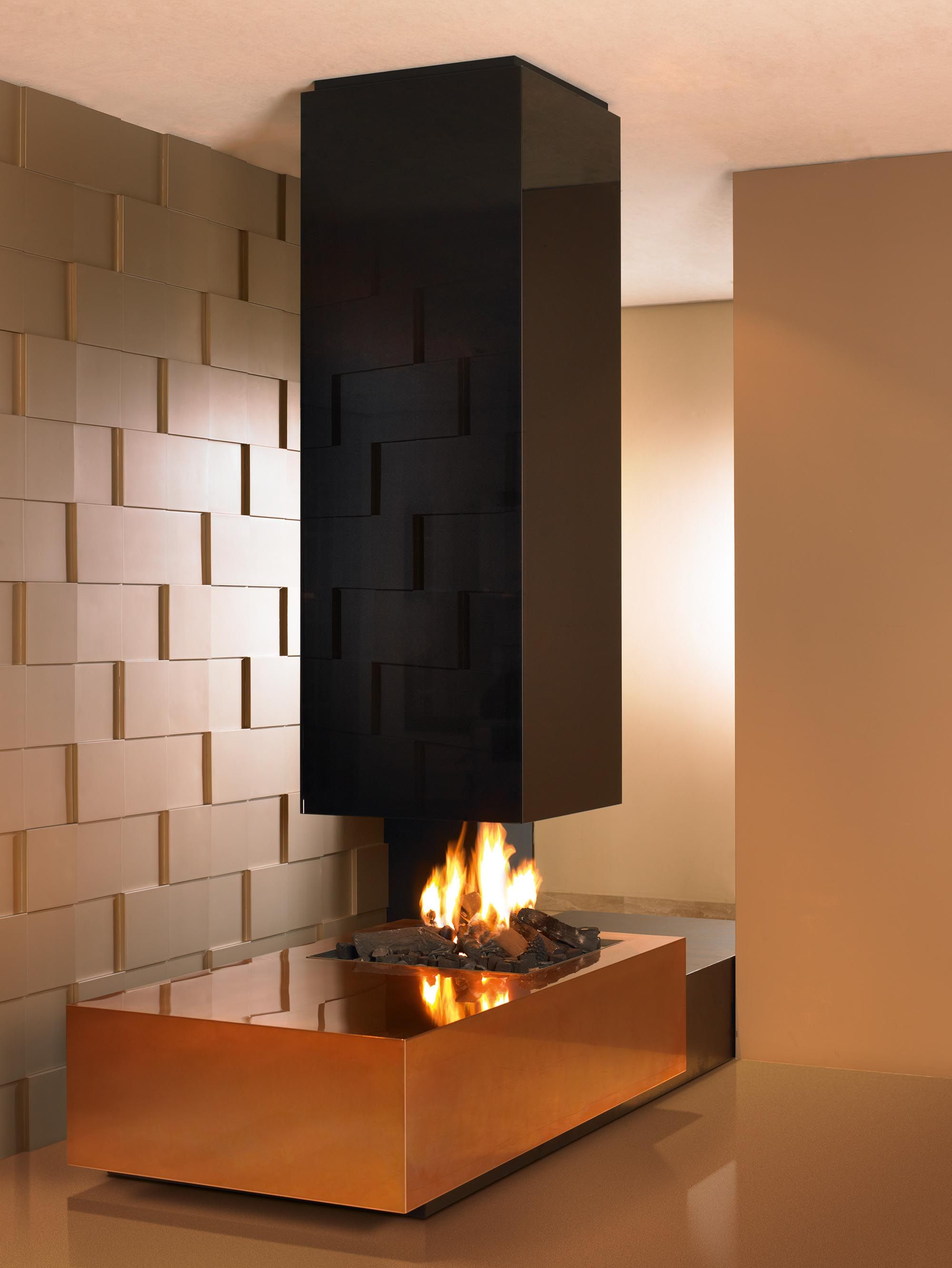 Sleek Modern Dark Bathroom With Glossy Tiled Walls: A Bold And Sleek Contemporary Suspended Gas Fireplace With