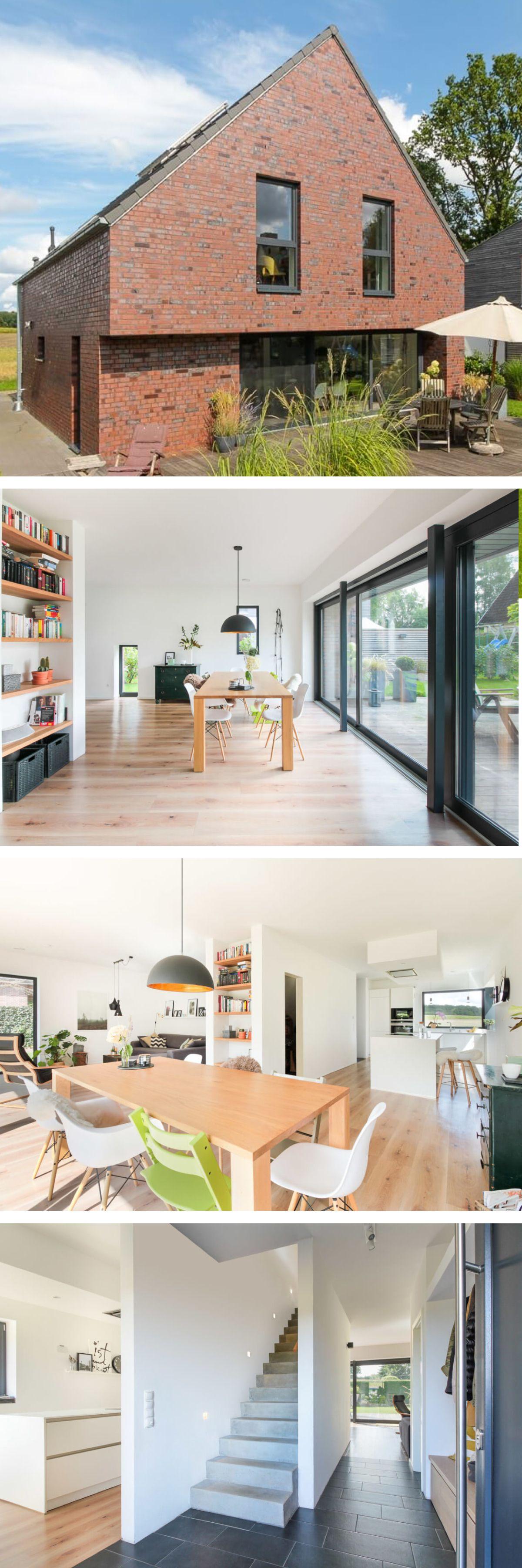 Einfamilienhaus architektur mit klinker fassade giebel for Massivhaus modern