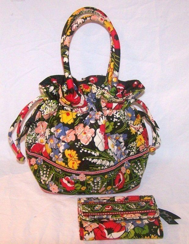 2b5e65d3c8b4 Vera Bradley Poppy Fields Handbag Emma Bag Purse Wallet Cotton New   TreasureHaven LOVE this pattern   colors