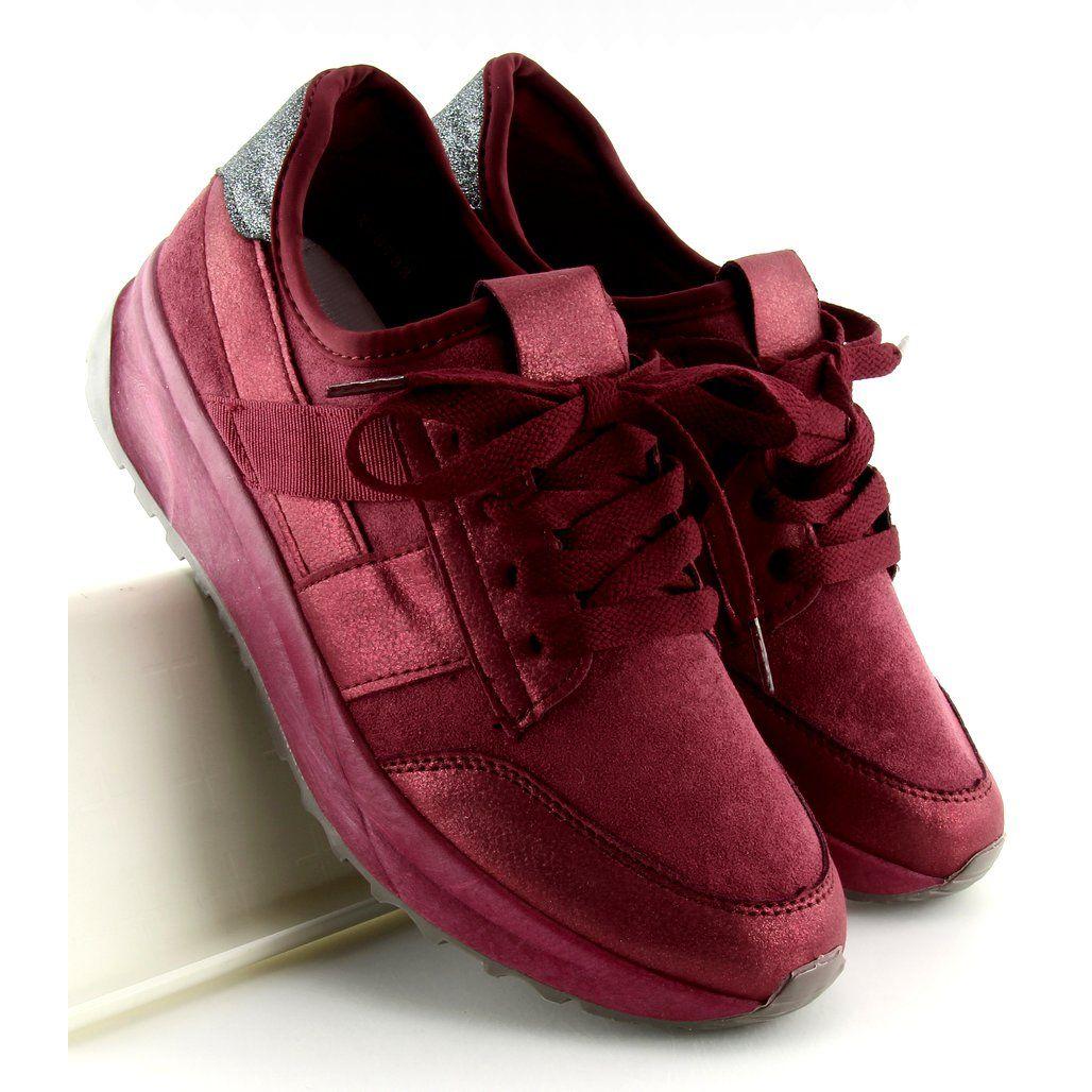 Trampki Damskie Butymodne Czerwone Buty Sportowe Bordowe X 9733 Wine Red Sport Shoes Trainers Women Shoes