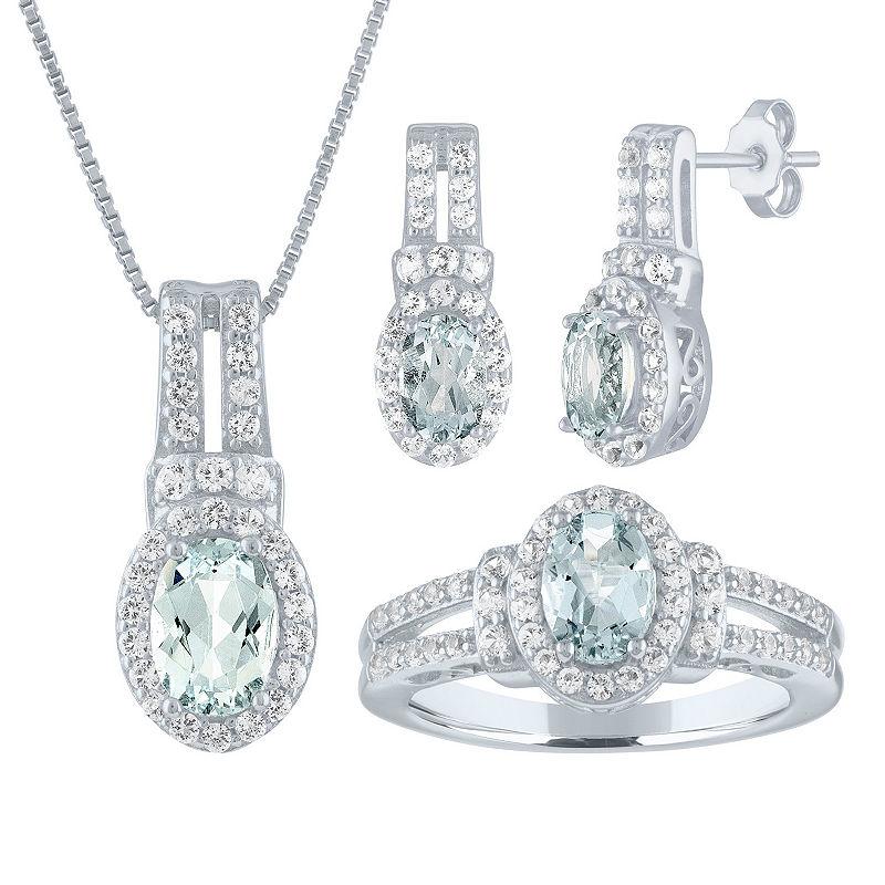 Womens Genuine Blue Aquamarine Sterling Silver 3 Pc
