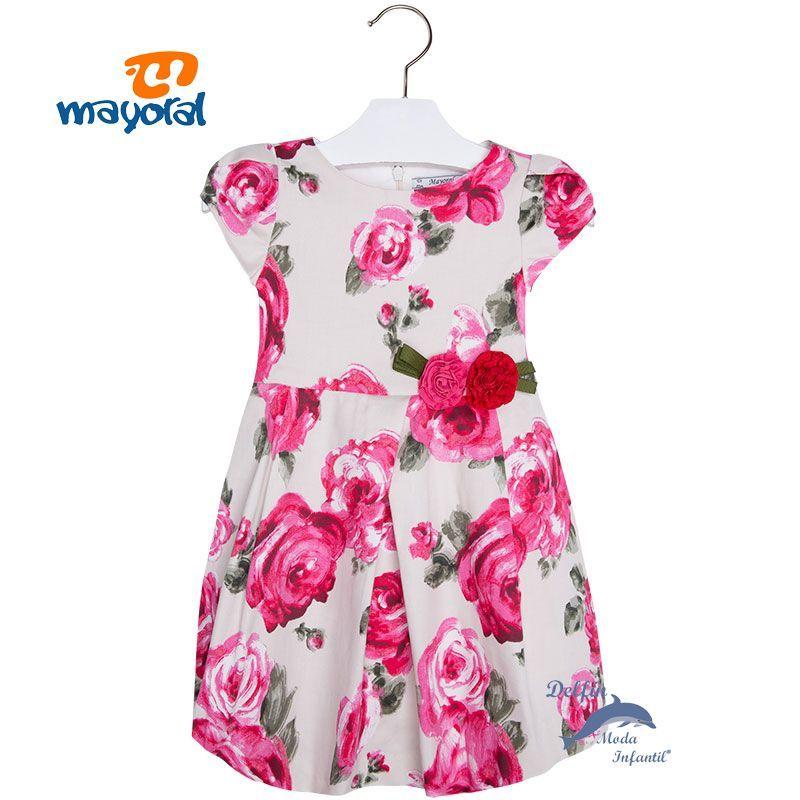 Vestido de niña MAYORAL en satén estampado de flores | Dresses ...