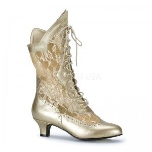 Victorian Dame Gold Lace Boot - New at GothicPlus.com Price: $43.00  Beautiful for steampunk Victorian and Bridal these ankle boots have a lace up front and a comfortable 2 inch high heel. No zipper. Eco-friendly all man made materials with padded insole and non-skid sole.  #gothic #fashion #steampunk