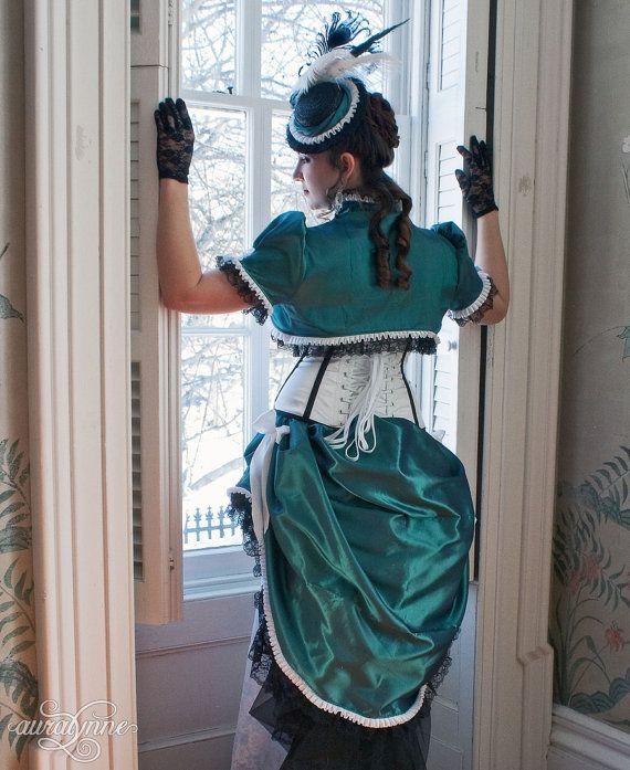 Striped Splendor Steampunk Wedding Dress Made to by auralynne