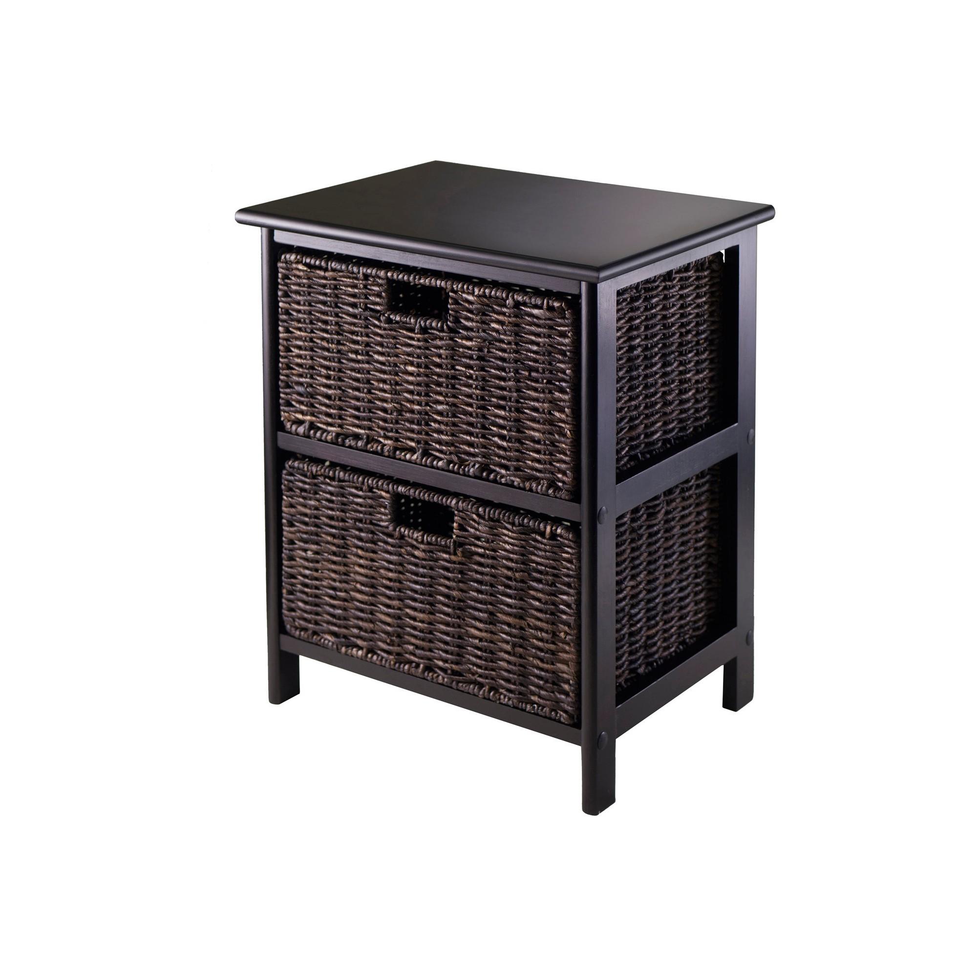 Omaha Storage Rack with Baskets Black Chocolate Winsome
