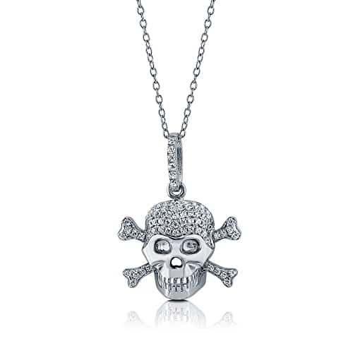 Sterling silver skull bones pendant with swarovski skull sterling silver skull bones pendant with swarovski mozeypictures Images