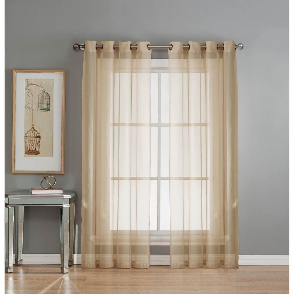 Window Elements Sheer Diamond Sheer Voile Taupe Grommet Extra Wide