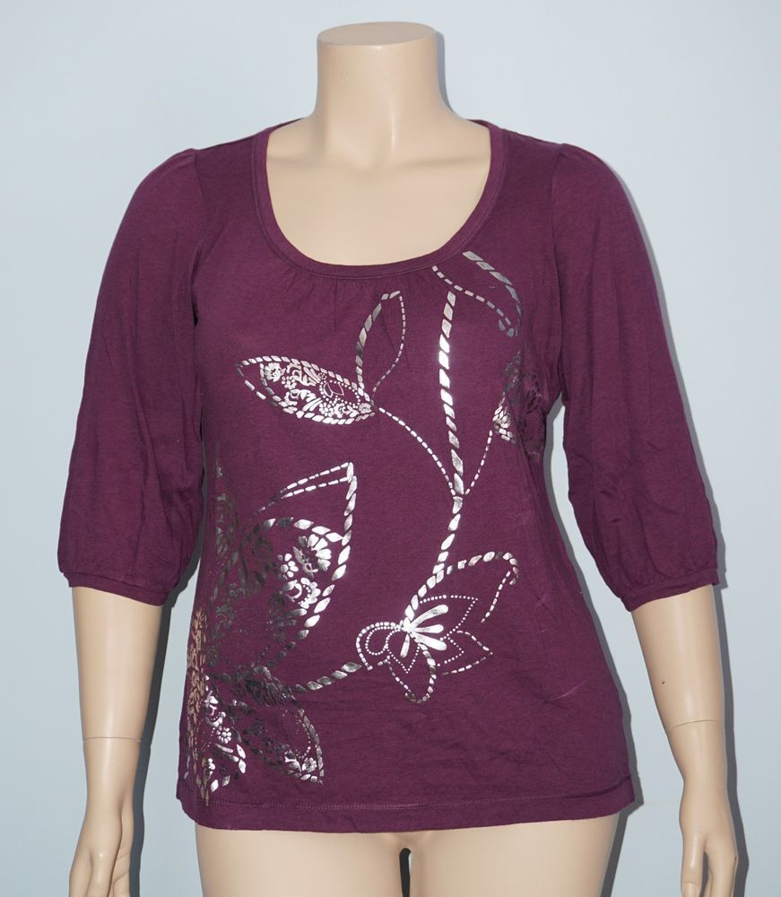 Ann Taylor Loft NWT XL Purple w/ Silver Foil Print 3/4 Sleeve Knit Top Tee Shirt #AnnTaylorLOFT #KnitTop