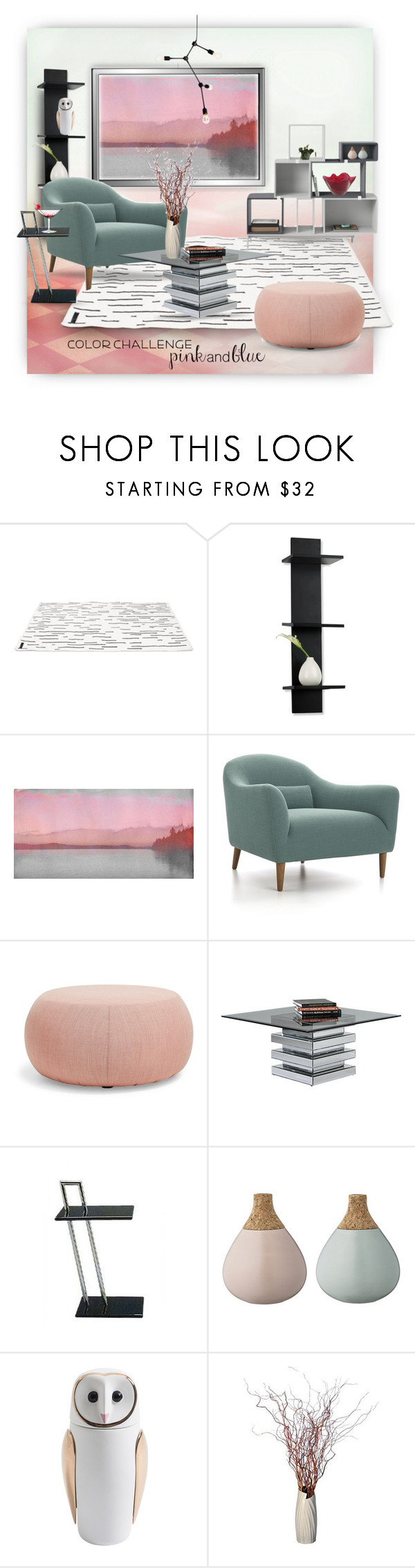 """""""Color Challenge: Pink and Blue"""" by ysmn-pan ❤ liked on Polyvore featuring interior, interiors, interior design, home, home decor, interior decorating, Muuto, Mikasa, Parvez Taj and Crate and Barrel"""