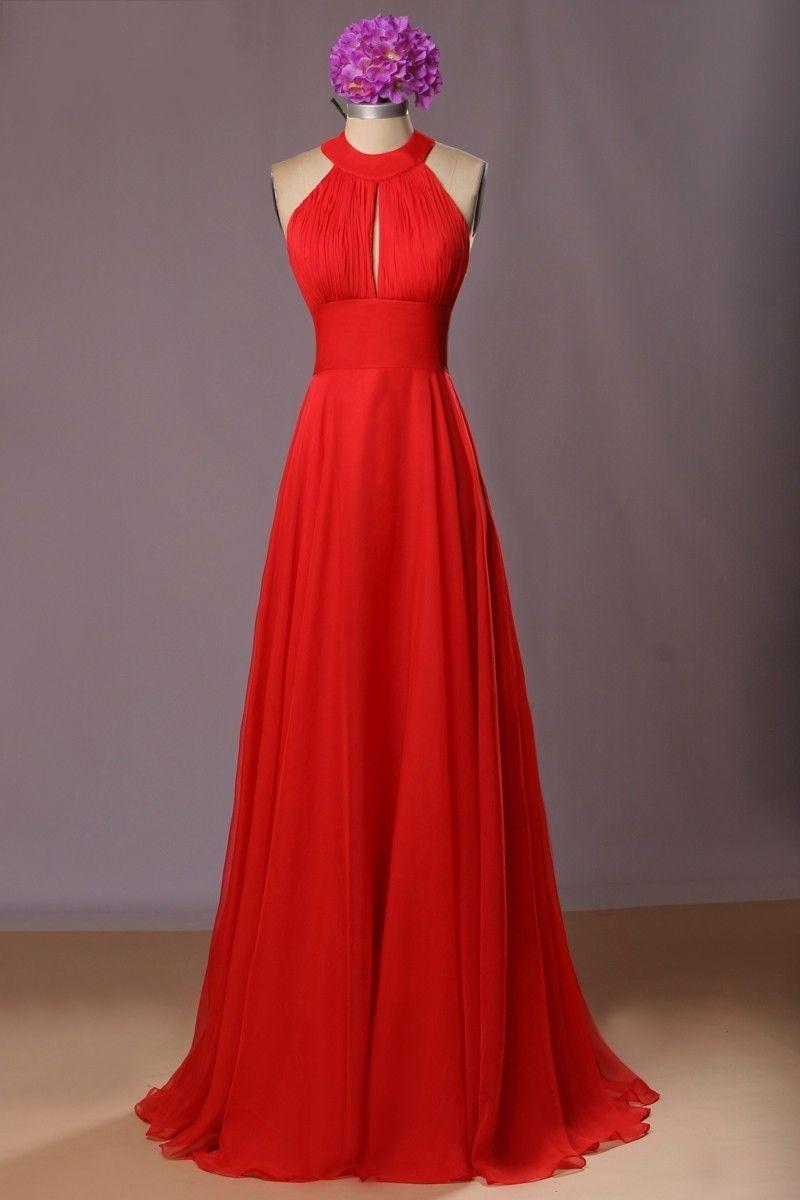 Womenus halter neck long chiffon red formal dress lc in