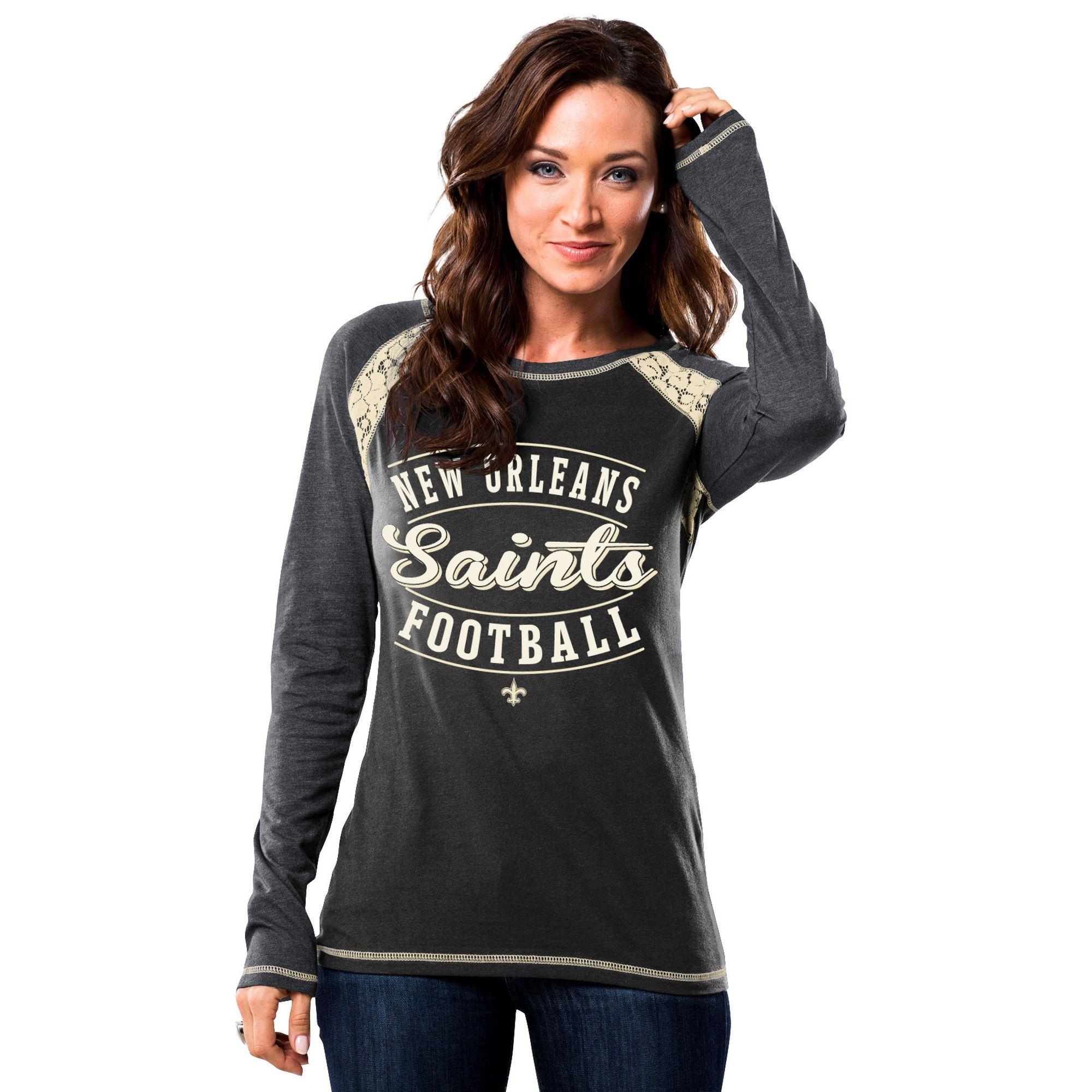 New Orleans Saints Majestic Women's Fantasy League Long Sleeve T-Shirt - Black/Gray