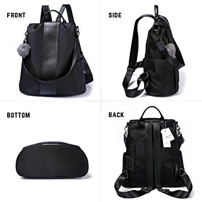 Amazon.com  Women Backpack Purse Waterproof Nylon Anti-theft Rucksack  Lightweight School Shoulder Bag (Black)  Clothing fbcb638730