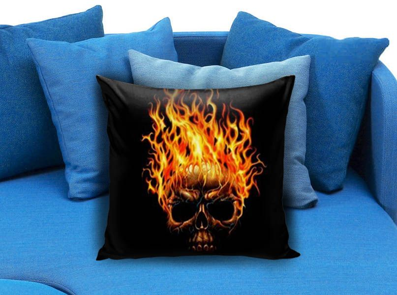 Fire Skull  These soft pillowcase made of 50% cotton, 50% polyester.  It would be perfect to decorate your home by using our super soft pillow cases on sofa, chair, bench or bed.  Customizable pillow case is both comfortable and durable, improving the quality of your sleep with these comfortable pillow case, take it home now!  Custom Zippered Pillow Cases available in 7 different size (16″x16″, 18″x18″, 20″x20″, 16″x24″, 20″x26″, 20″x30″, 20″x36″)